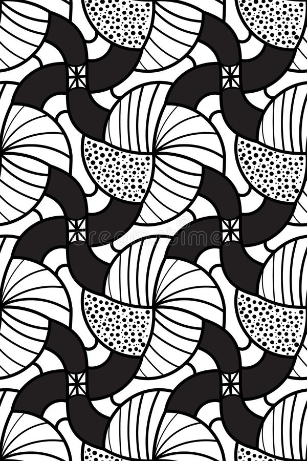 Black and white doodled organic seamless geometric pattern tile. Black and white abstract organic geometric seamless pattern tile with decorative stripes and stock illustration