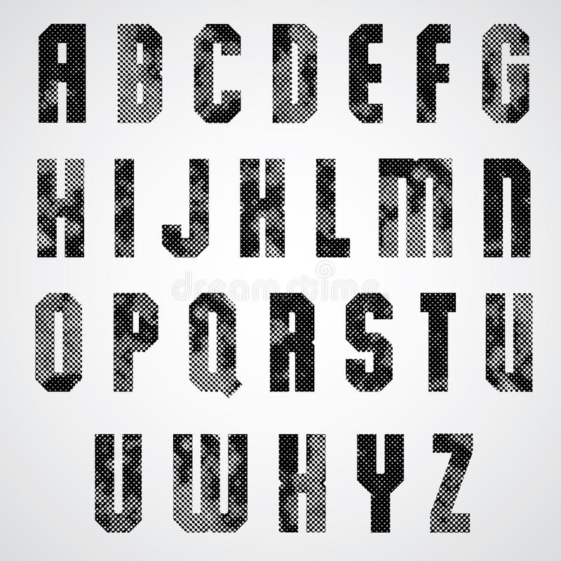 Black Dotty Graphic Lower Case Letters, Industrial Font  Stock