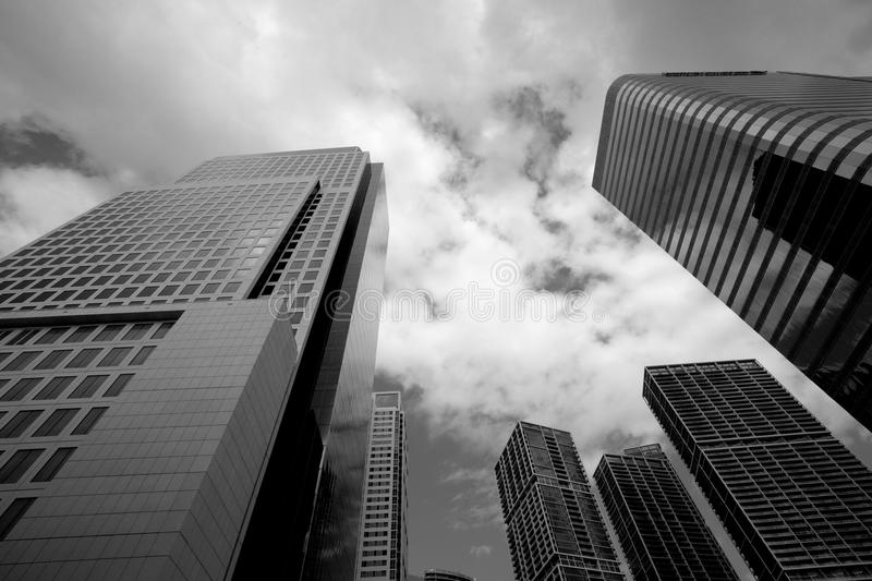 Black and White Downtown Buildings royalty free stock photography