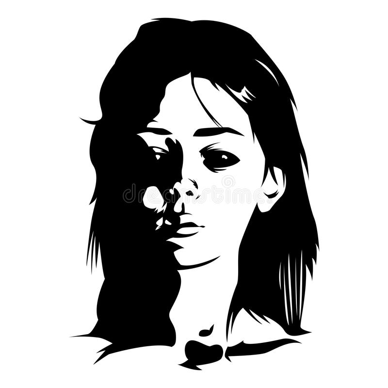 Raster image of an demonic possession girl with black eyes. Black and white drawing of a demonic girl on a white background stock illustration