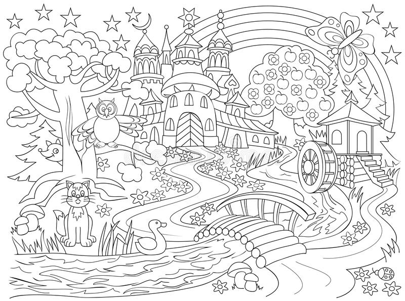 Black and white drawing of fairyland country. Medieval castle in the magic forest for coloring. Worksheet for children and adults. Vector cartoon image. Scale vector illustration