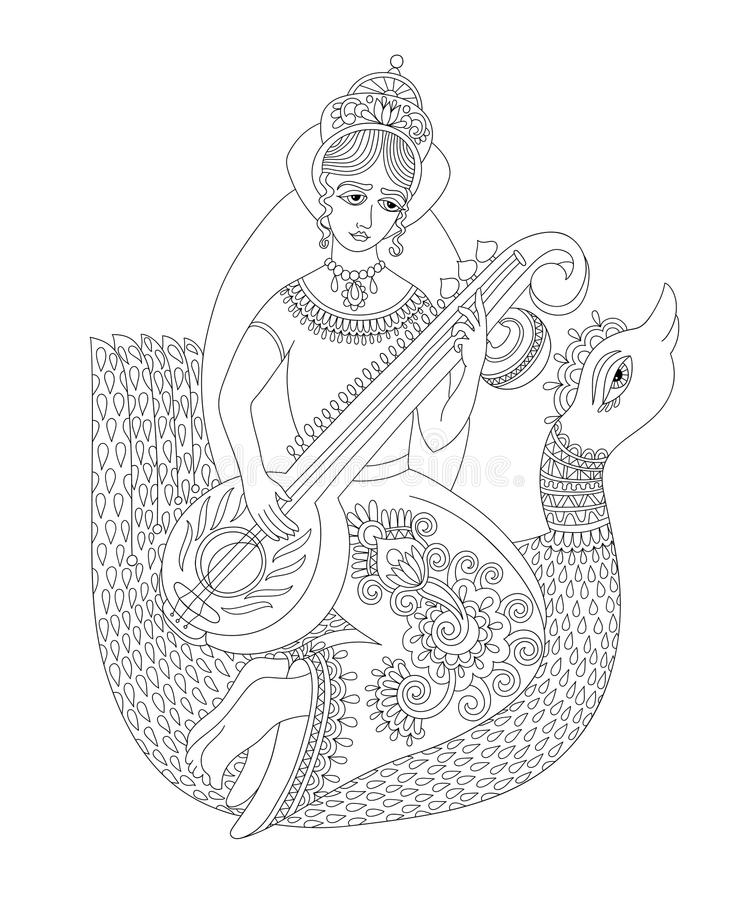 Black and white drawing of indian hindu goddess Saraswati. Symbol of knowledge, music, art, wisdom, learning, philosophy, creativity and nature, vector vector illustration