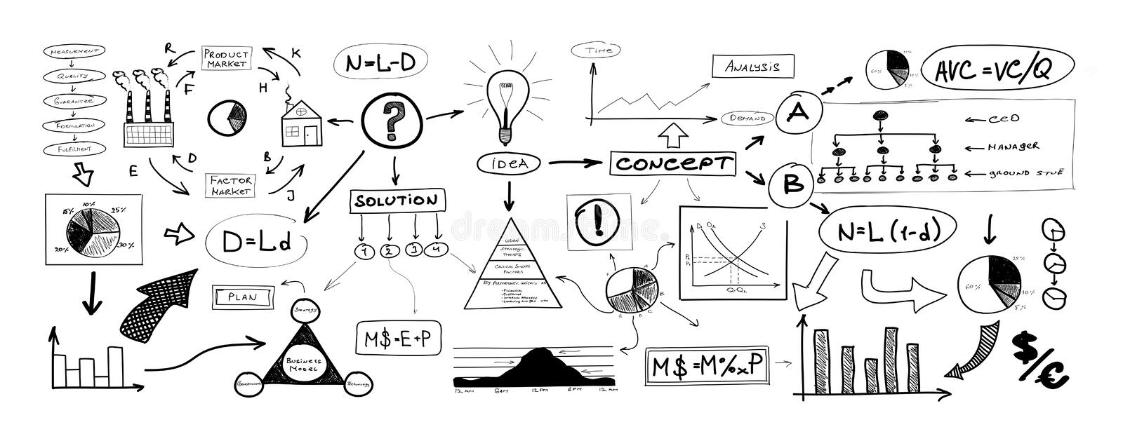 Black and white drawing of many different business elements stock illustration