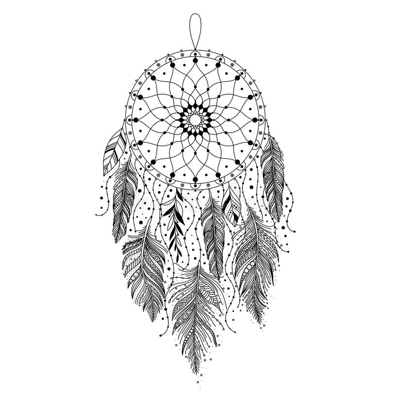 Black And White Dreamcatcher Stock Vector