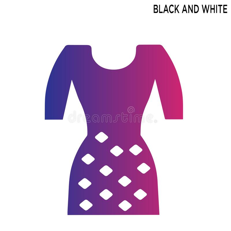 Black white dress editable icon symbol design. With white background royalty free illustration