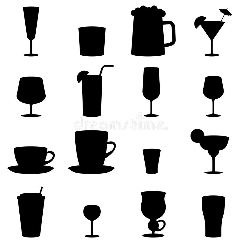 Black and white drink glass icons royalty free illustration