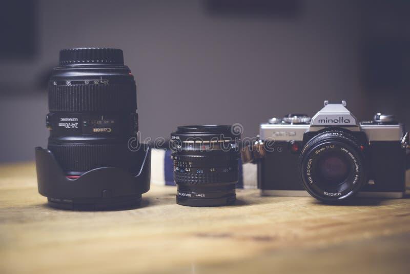 Black and White Dslr Camera Lens Beside Black Lens stock photography