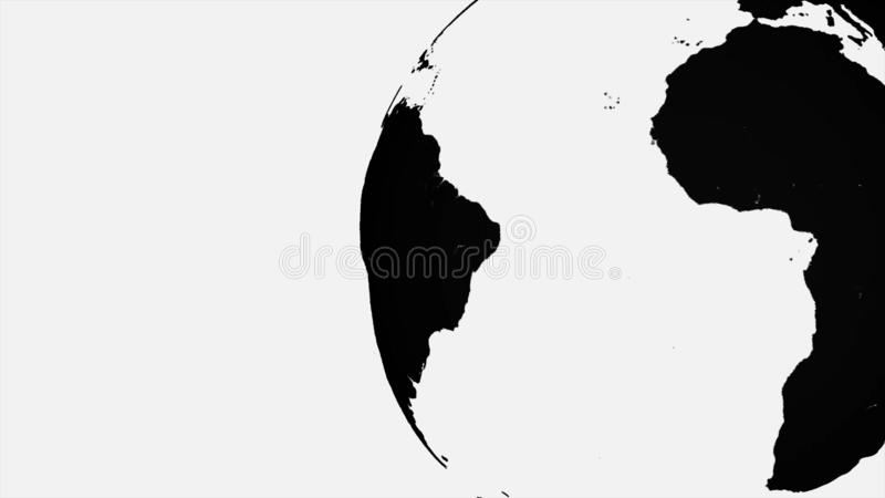 Black and white Earth planet rotating, isolated on black background. Abstract, monochrome terrestrial globe spinning stock illustration