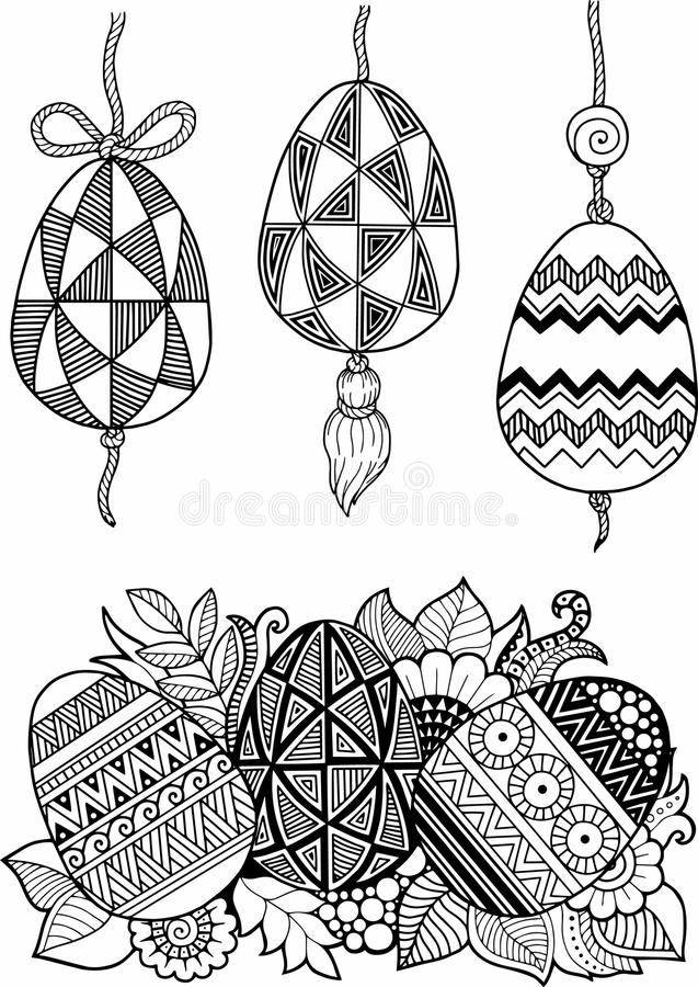 Black-and-white Easter eggs isolated on white. Abstract background made of flowers and Easter eggs. royalty free illustration