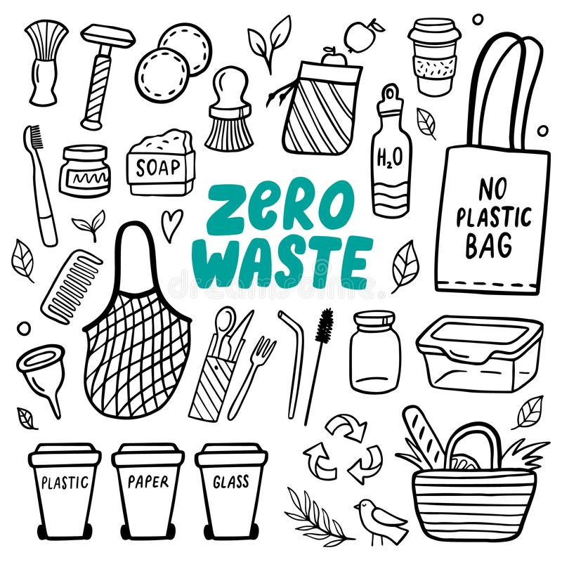 Black and white Eco style doodle elements of zero waste life. Go green. Hand-drawn vector illustration. Good for banner, postcard, background or flyer royalty free illustration
