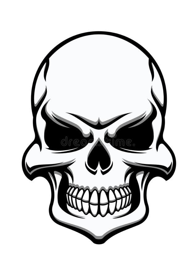 Black and white eerie human skull royalty free illustration