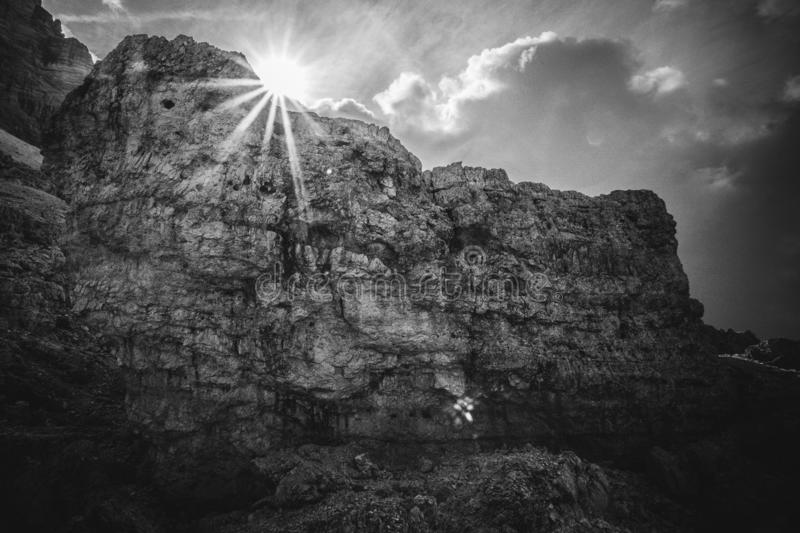 Black and white effect of giant boulder stock photography