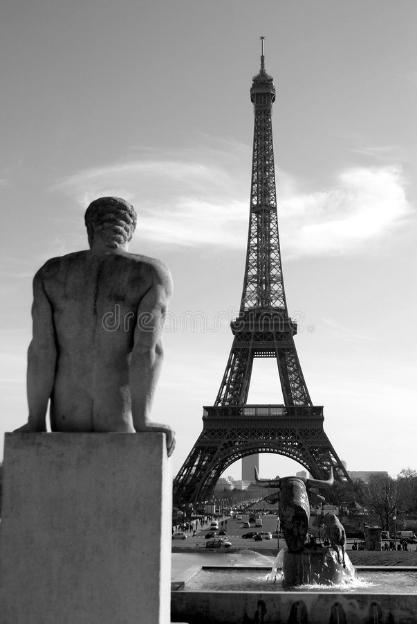 Black and White Eiffel Tower stock photos