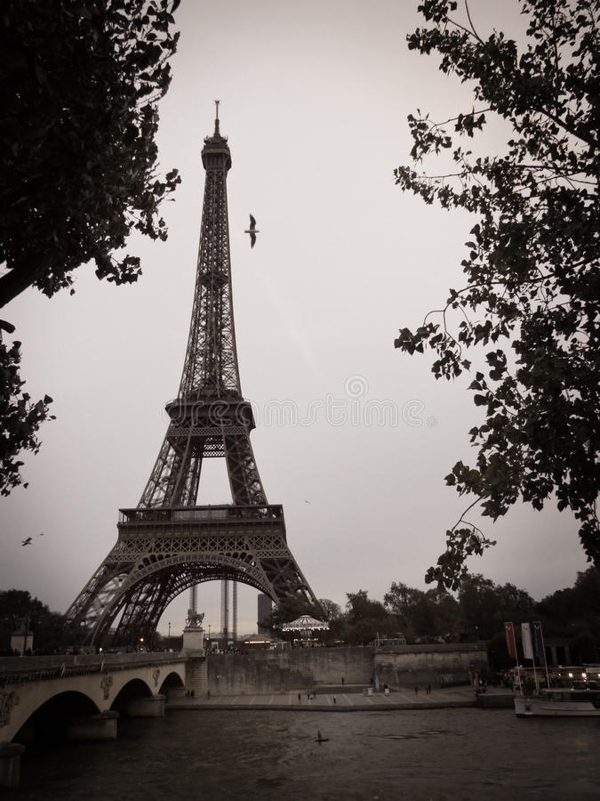 Download Black And White Eiffel Tower In The City Of Paris Stock Photo - Image: 35706120