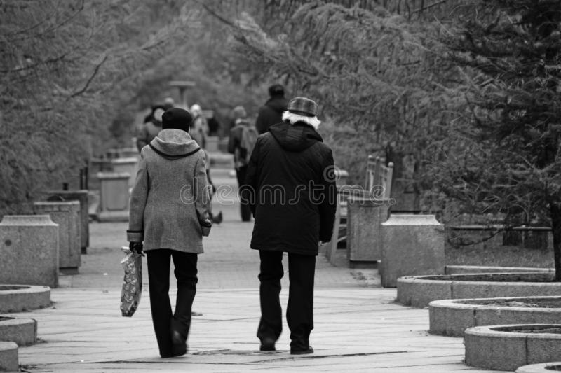 Black and white man and woman walking in the park stock photography