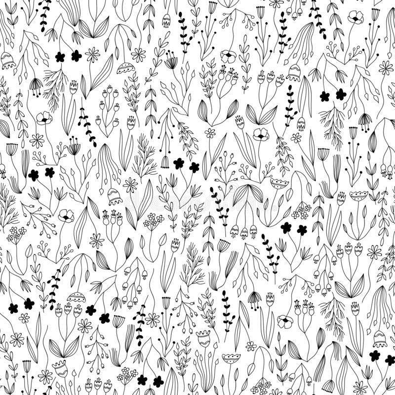 Vector botanical seamless pattern with floral and herbal elements. ink vector plants, branches and flowers repeating tile. stock illustration