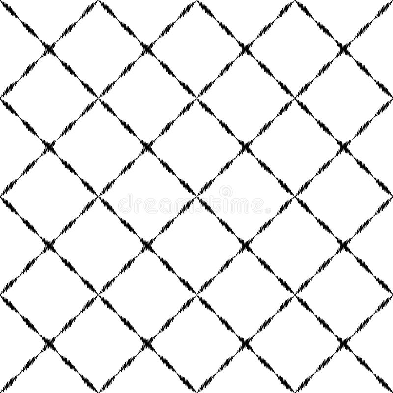 Black and white embroidered geometric checkered ornament seamless pattern, vector royalty free illustration