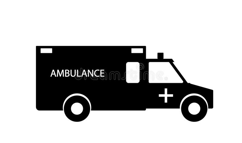 Black and White Emergency Ambulance with Siren Flat Design. Vector Illustration. royalty free illustration