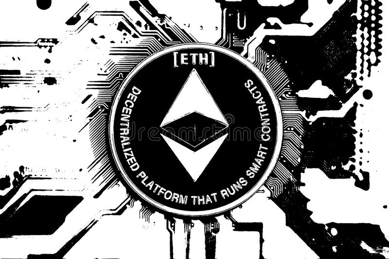 Black and white ethereum royalty free stock images