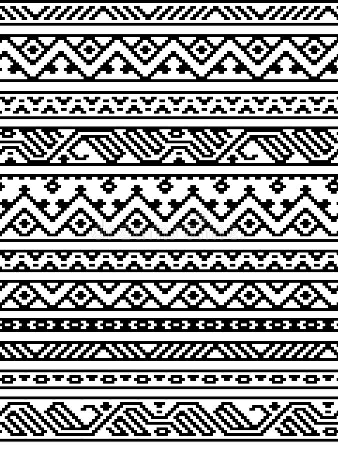 Black and white ethnic geometric aztec seamless borders pattern, vector vector illustration