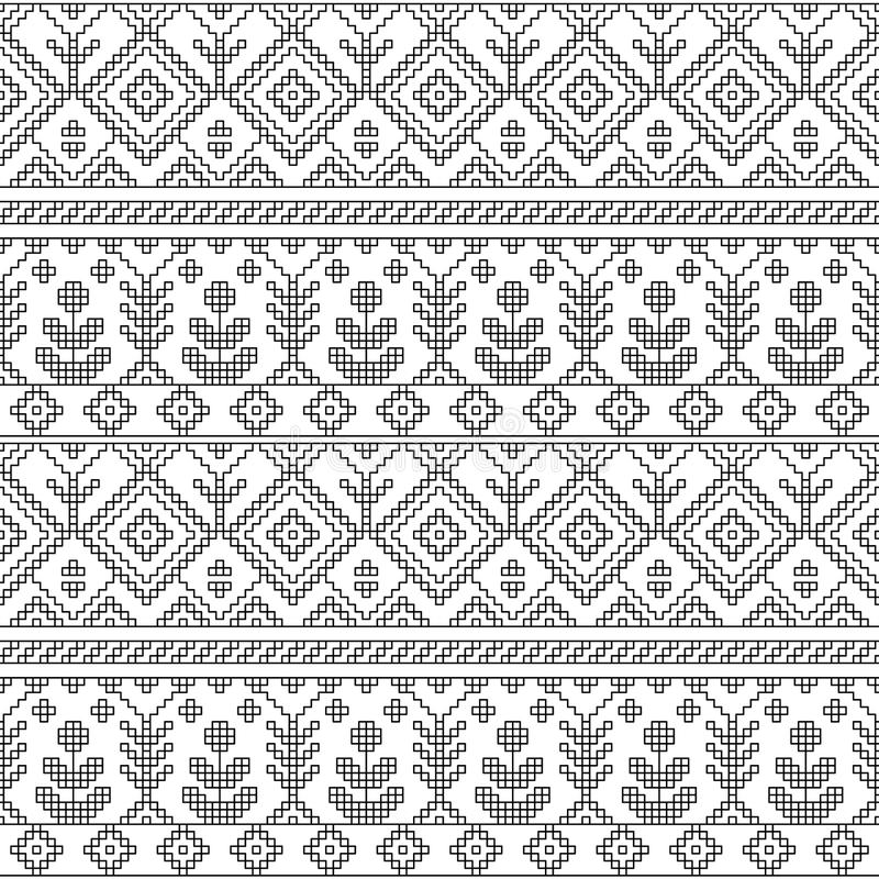 Black and white ethnic geometric floral seamless pattern, vector stock illustration