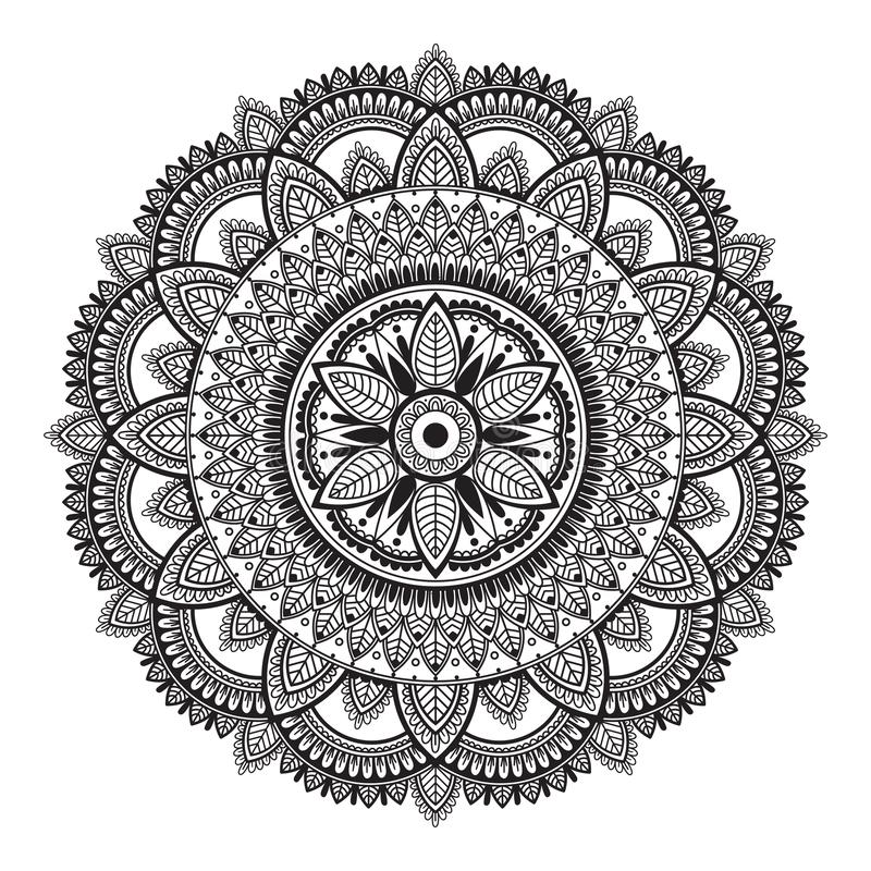Black and white ethnic mandala on white background. Circular decorative pattern stock illustration