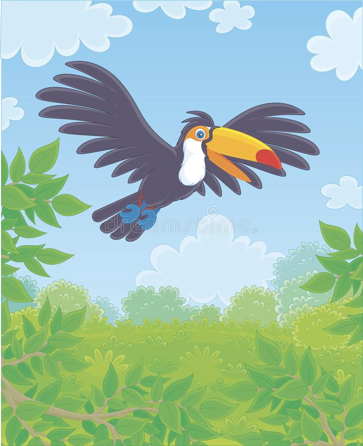 Funny toucan with a big colorful beak vector illustration