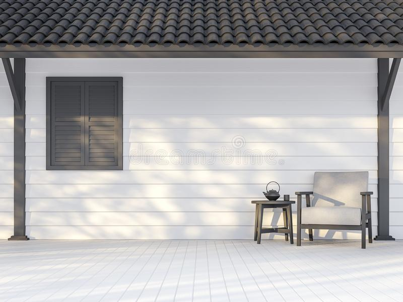 Black and white exterior wall 3d render. There are white wood plank wall,darkgray window, poles and roof ,Decorate with white fabric chair,Sunlight shining to stock illustration