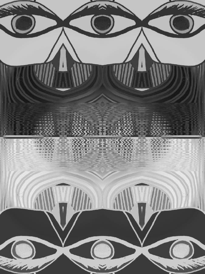 Black and white eyes vector illustration