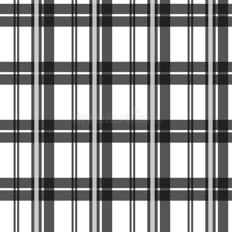 Black and white fabric texture check tartan seamless pattern. Vector illustration. royalty free illustration