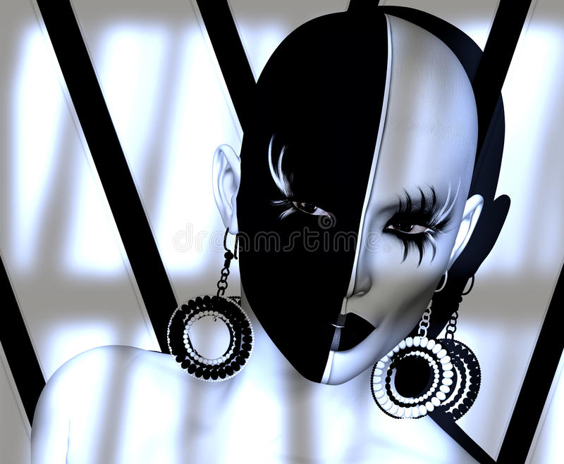 Black and white face close up with fashion makeup, long eyelashes, body paint royalty free illustration