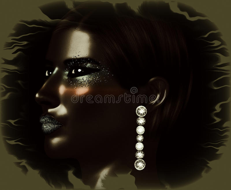 Black and white face close up with fashion makeup, long eyelashes, body paint. stock illustration