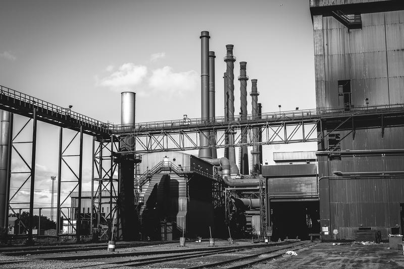 Black and white factory in steel industry, UK.  stock photography
