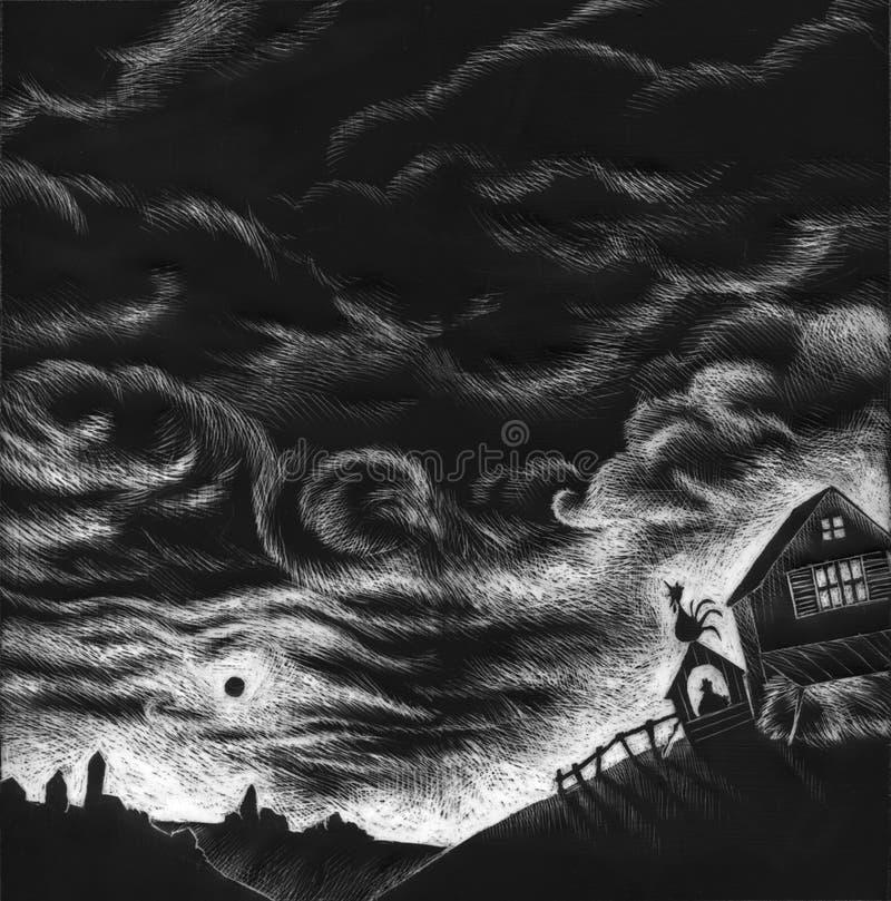 Black and white farm - artwork stock illustration