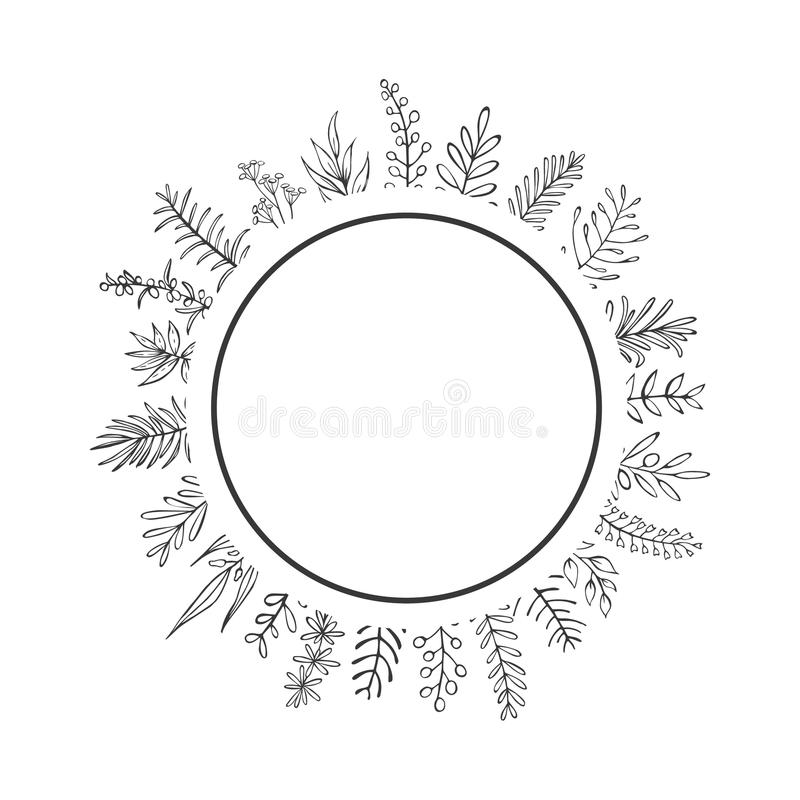 Black and white farmhouse style hand drawn outlined branches and twigs circle round frame. Border royalty free illustration