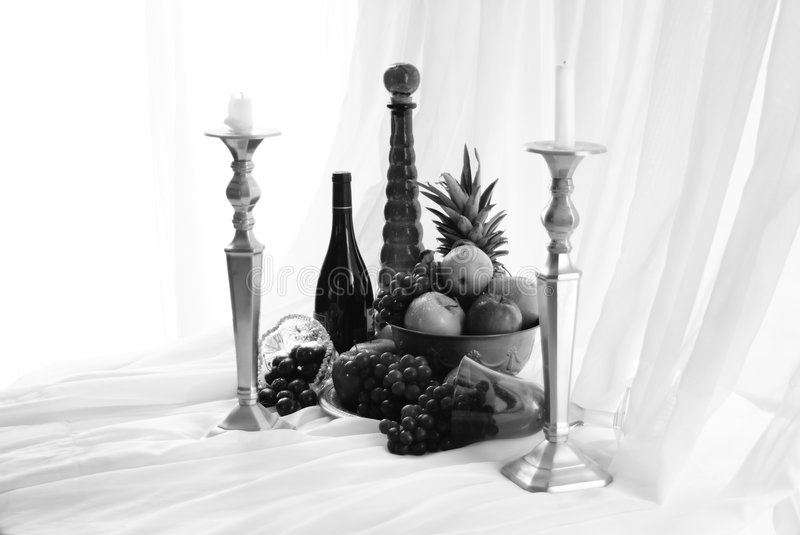 Download Black and White Feast stock image. Image of black, pineapple - 5588569