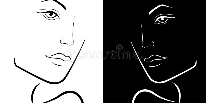 Black and White female laconic heads outline. Black and White stylized feminine laconic heads outline, hand drawing vector simple illustration vector illustration