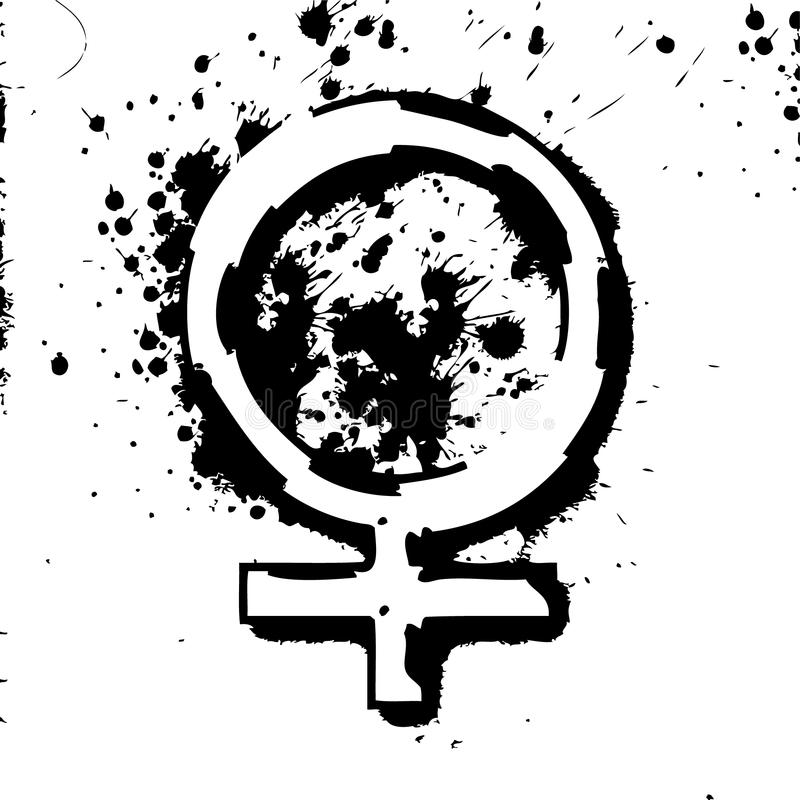 Black and white Female woman sign splatter stock images