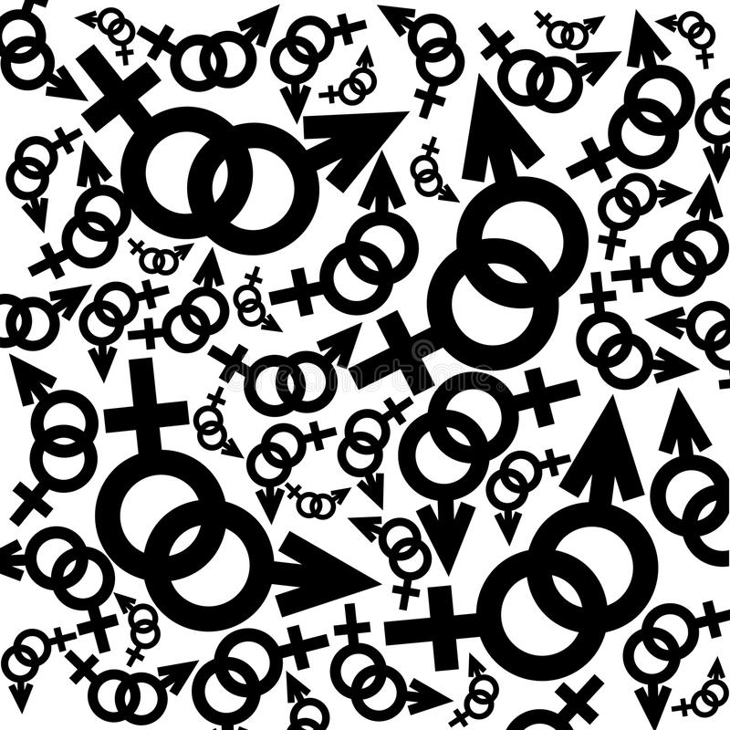 Black and white feminine and masculine signs. Black and white background with feminine and masculine signs royalty free illustration