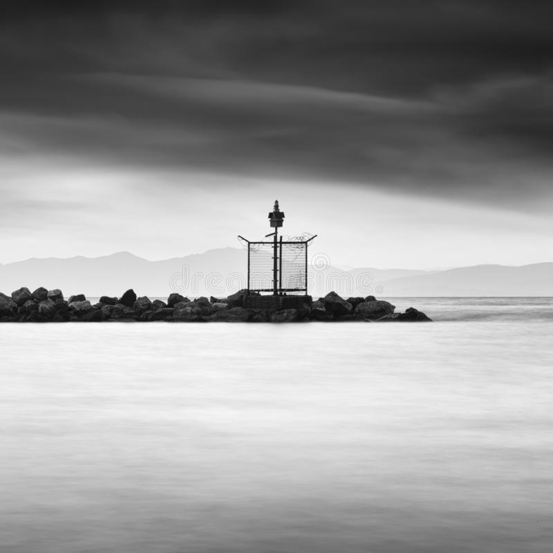 Landscape with lighthouse building stock photos
