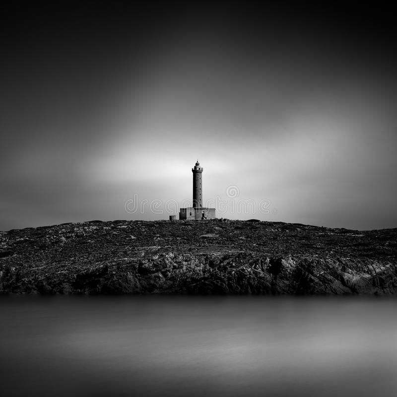 Landscape with lighthouse building royalty free stock photography