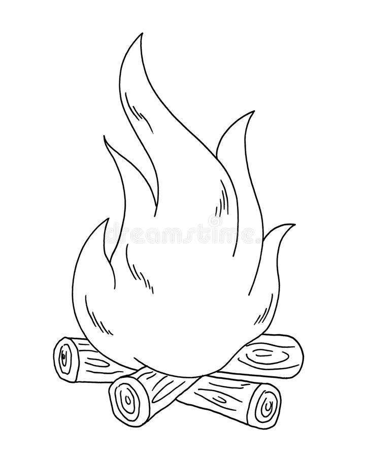 Black and white - fire stock illustration