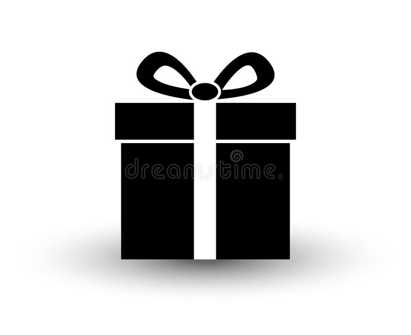 Black and white flat gift present icon vector illustration with stock illustration