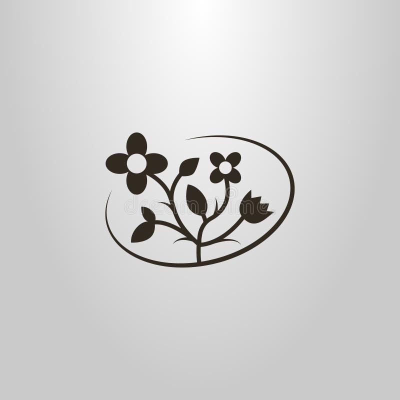 Flat simple vector elegant pictogram of wildflowers vector illustration