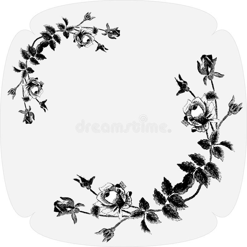 Black- white floral background. For your website royalty free illustration