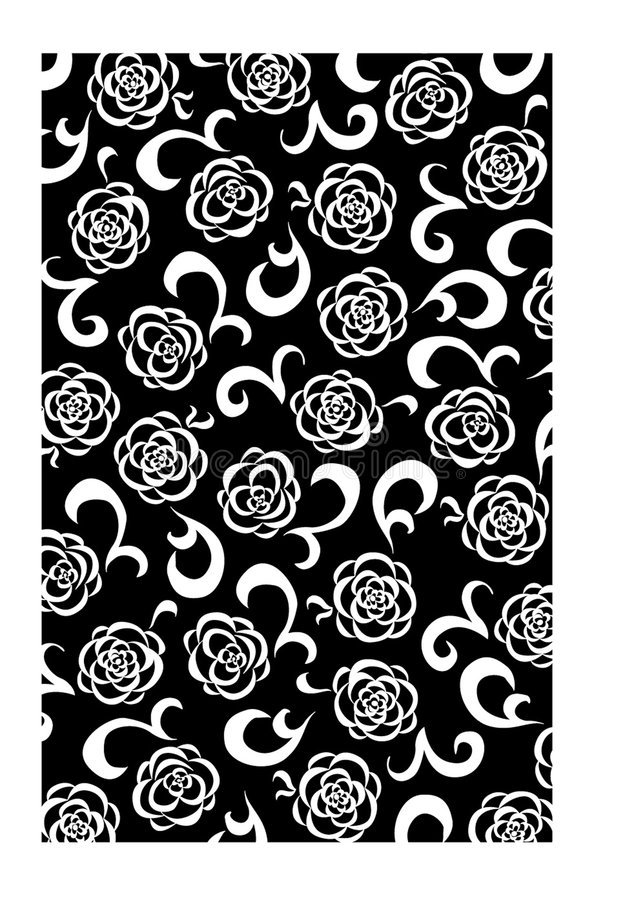 Black and White Floral Background royalty free illustration