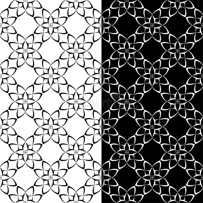Black and white floral backgrounds. Set of monochrome seamless patterns vector illustration