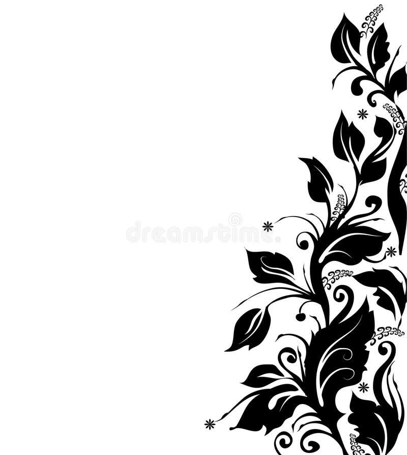 Black and white floral border stock illustration
