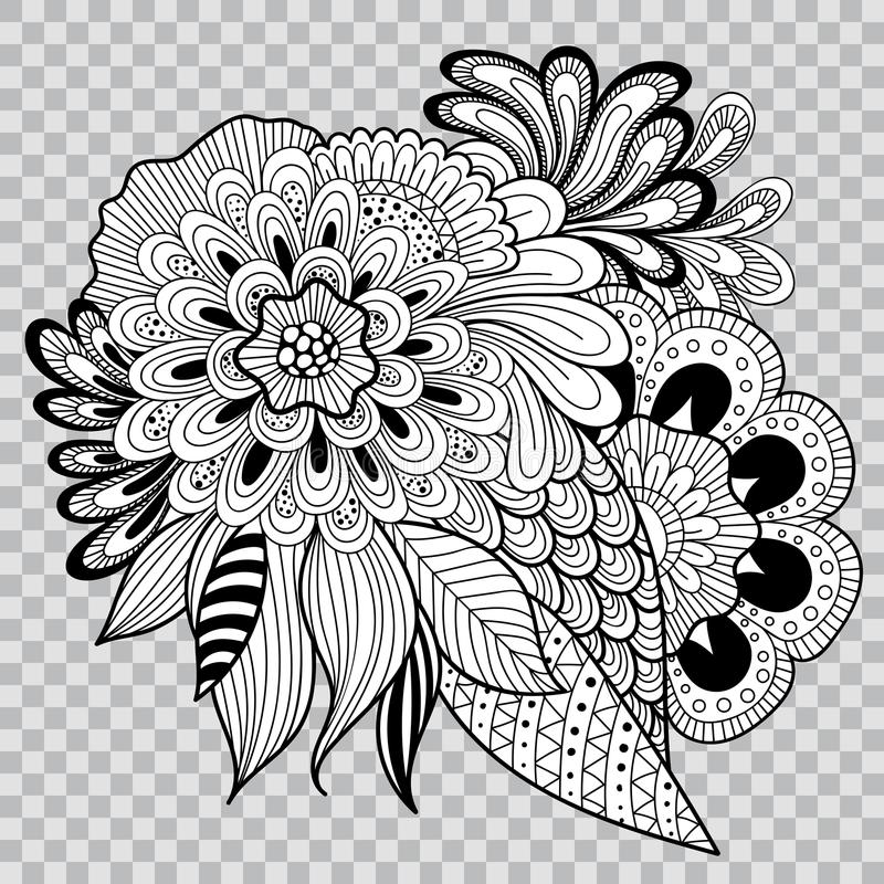 Black and white floral coloring on transparent background flower download black and white floral coloring on transparent background flower tattoo artwork stock vector mightylinksfo