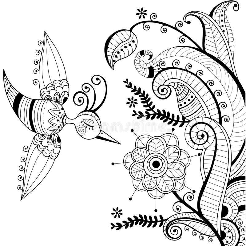 Black and white floral decoration and abstract bir royalty free illustration